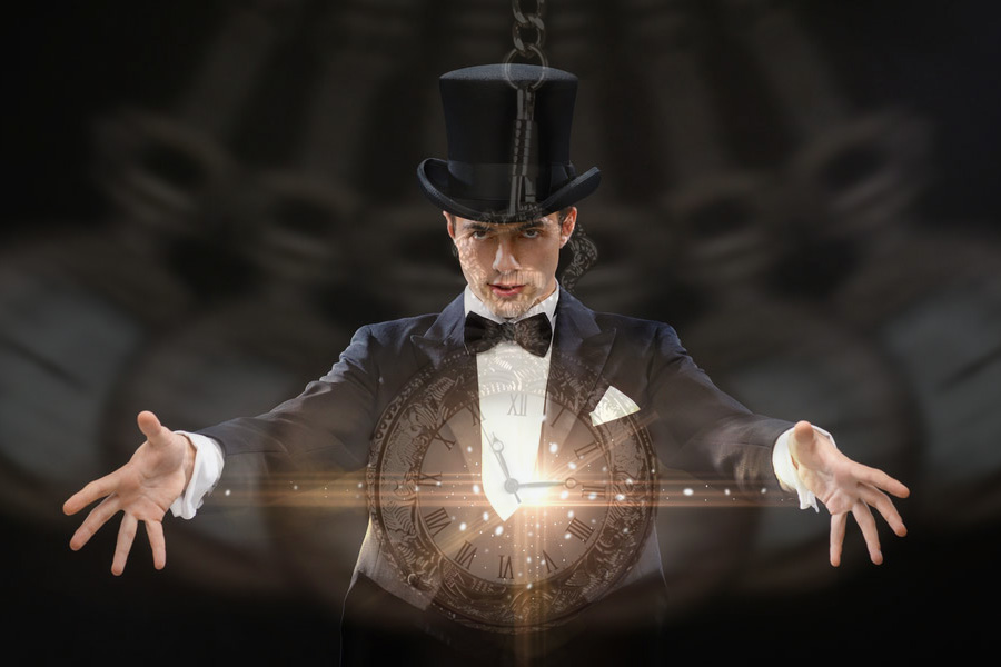 The magician who hypnotizes