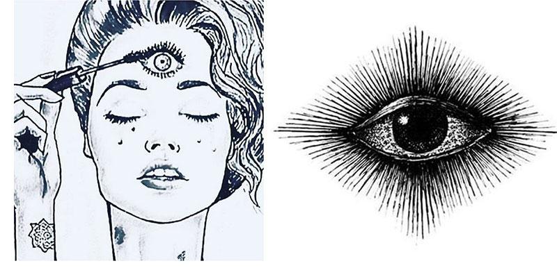 A woman dresses her third eye